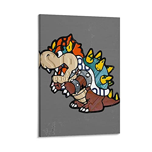 SOROP Bowser License Plate Art Canvas Art Poster and Wall Art Picture Print Modern Family Room Decor Poster 16 x 24 Inches (40 x 60 cm)