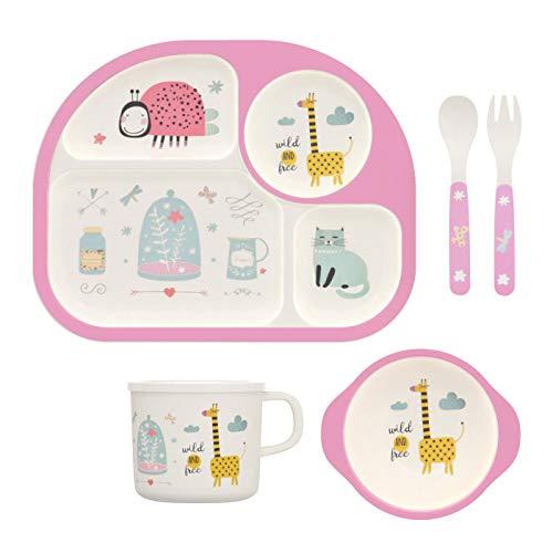 H HOMEWINS 5-Teilig Kindergeschirr aus Bambus - Teller, Schüssel, Löffel, Gabel, Tasse, BPA Frei Kinderbesteck Umweltfreundlich Geschirr Set für Babys Toddler (Giraffe)