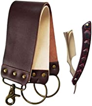 Straight Razor Shaving Kit - Shave Ready Mirror Blade with Light weight Micarta Carved Stylish Handle - 2 Layers Leather Canvas Strap Sharpening Strop