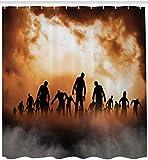 GzHQ Cortina de Ducha de Halloween Zombie Dead Walking in The Dooms of The Night Sky 71x71 Inch...