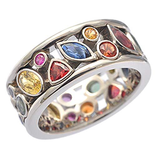 Janly Clearance Sale Anillos para mujer, elegantes anillos de boda para mujer, anillo de oro blanco con piedras preciosas tamaño 6-10, conjuntos de joyería, día de San Valentín (10)