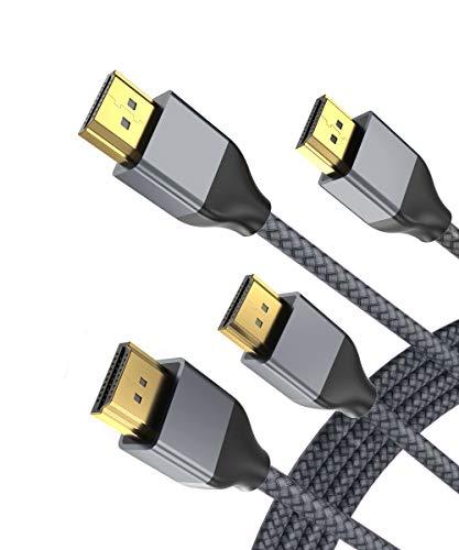 8K 60Hz HDMI Kabel 3M (2 Stück),48Gbps 7680P Ultra High Speed HDMI 2.1 Cord mit Dolby Vision,(HDMI 2.0/4K 120Hz) Kompatibel mit Apple TV,Roku,Samsung QLED,Sony LG,PS4,PS5,Xbox One Series X