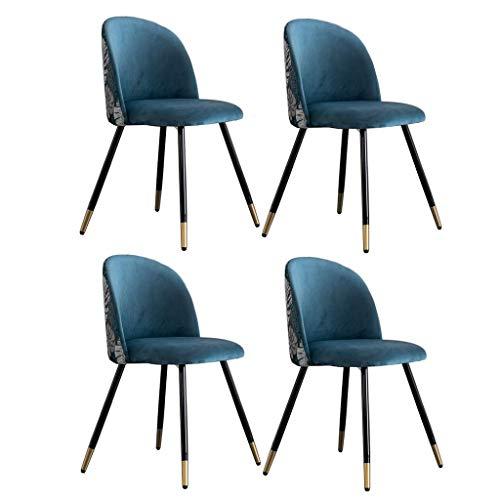 N/Z Living Equipment Sillas de Comedor Juego de 4 sillas de Cocina Retro Terciopelo Bordado Patchwork Lounge Ocio Asiento tapizado con Patas de Metal Diseño Moderno (Color: A)