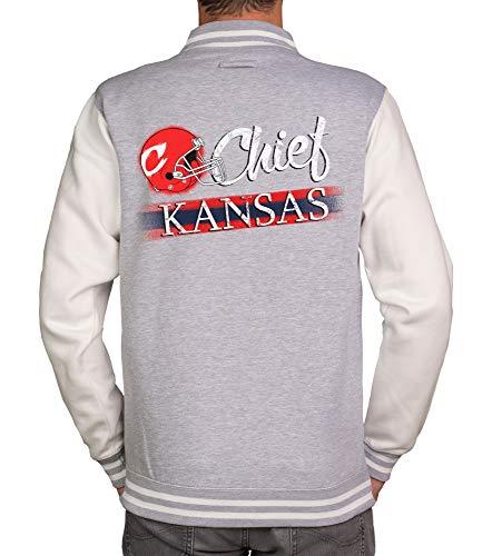 shirtdepartment - Herren College Jacke - Chief - Kansas - Für wahre Football-Fans hellgrau-Chief M