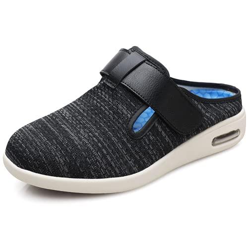 HTDZSW Calzado ortopédico extra ancho antideslizante para caminar ancianos con plantilla de múltiples capas, adecuado para el ejercicio diario para pacientes diabéticos y ancianos, negro gris, 42EUR