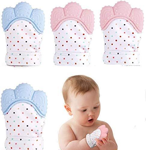 Baby Teething Mittens 4pcs gants de dentition en silicone pour bébé gants de dentition auto apaisants anti-douleur apaisent les gencives douloureuses et favorisent la croissance des dents