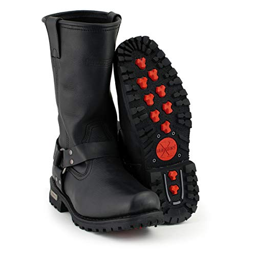 Xelement 1443 Men's Black Harness Motorcycle Biker Boots with Lug Sole - 12