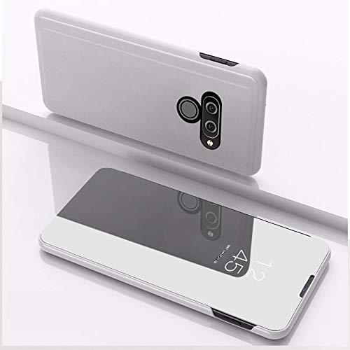 Xyamzhnn Cubierta HNZZ Caja del teléfono for LG K50 Revestimiento del Espejo Izquierdo y Derecho del tirón con el Soporte de la pistolera (Color : Silver)