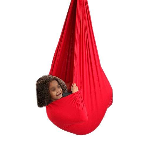 zyy Columpio De Hamaca For Niños Ideal For Autismo TDAH SPD Aspergers E Integración Sensorial Hamacas Acurrucado Carga 200 Kg (Color : Red, Size : 100x280cm/39x110in)