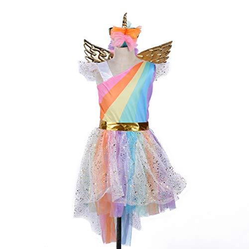 BESTOYARD Mädchen Einhorn Tutu Kleid Kinder Party Karneval Fasching Foto Requisiten mit Stirnband und Flügel, Stoff, Regenbogenfarben, S