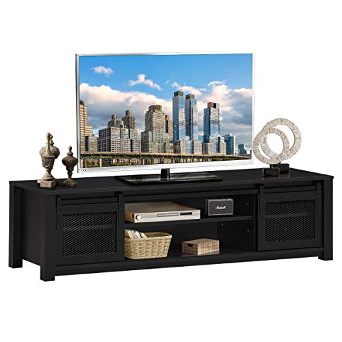 """Tangkula Farmhouse TV Stand, Living Room Console Storage Cabinet for TVs up to 65"""" Flat Screen, Media Entertainment Center w/Adjustable Shelves, 2 Cabinets with Sliding Metal Mesh Doors (Black)"""