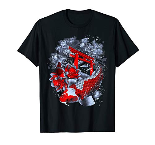 Asia Koi Fische Lotus Blüte Tempel Sakura Seerose Geisha T-Shirt