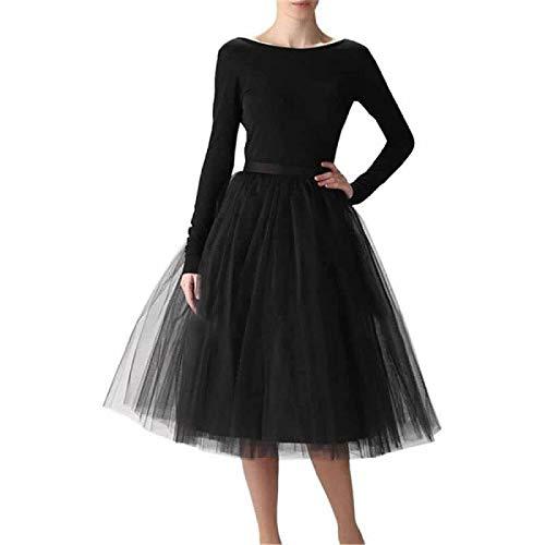 WEISIPU Women's 6 Layer Short A Line Elastic Waistband Tutu Tulle Prom Princess Midi Dance Skirt (Tag 3XL =US XL) Black …
