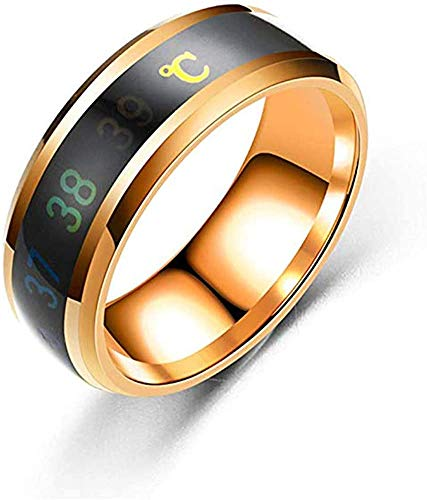 Rockyu 人気 温度感知指輪 メンズ リング チタン 指輪 黒 ゴールド 平打ち 幅 8mm デジタル温度計体温センサー (ゴールド, 22)