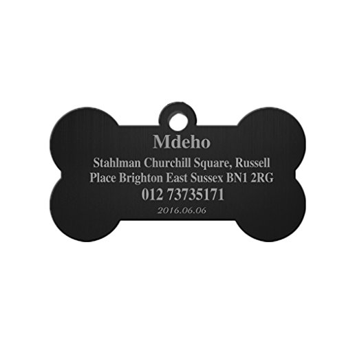 Moonlove Stainless Steel Pet ID Tags Bone Shape Dogs Cats Personalized&Engraved Custom Identification Tag Charm Customized Pet Name,Owner Name,Telephone Number,Address Pet ID Plate Collar Gift