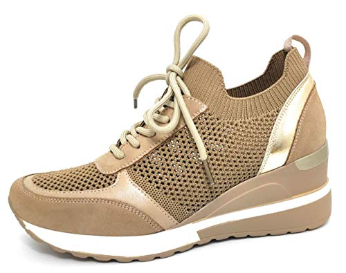 Zapatillas Deportivas Mujer con Estilo | Bambas Comodas Cuña | Tenis Plataforma Casual Perforado (Beige, 37)