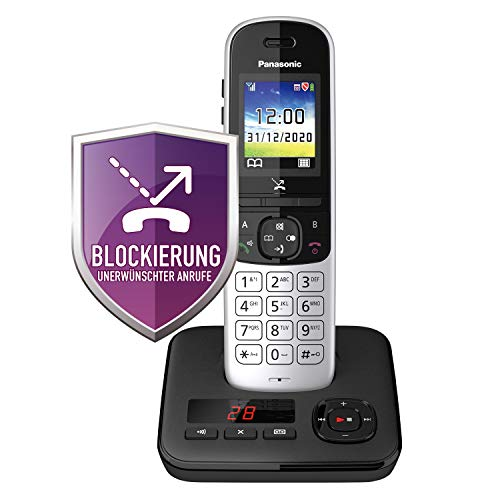 Panasonic KX-TGH720GS Schnurlostelefon mit Anrufbeantworter (DECT Handy, strahlungsarm, Farbdisplay, Anrufsperre, Freisprechen) schwarz