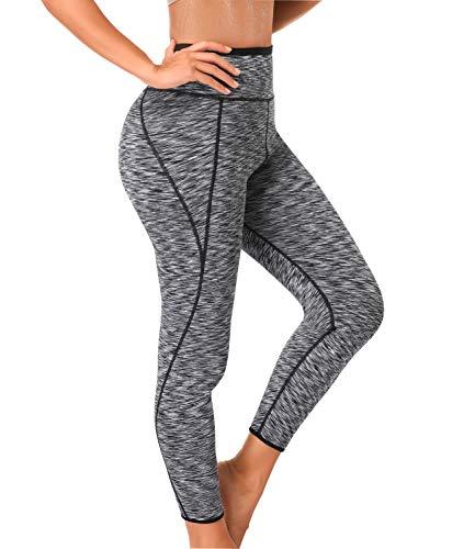 LAZAWG Damen high waist trainer sauna pants abnehmen yoga capris neopren sweat gamaschen für weight loss XX-Groß grau