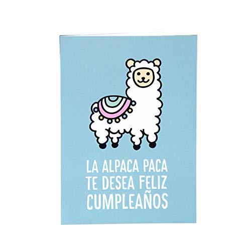 Milimetrado 104453 Postal de Cumpleaños - Dodo, Perezoso, Alpaca Paca - Tarjeta de felicitación de cumpleaños (Alpaca), DIN A6
