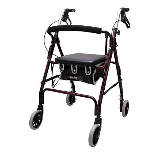 Lattice wandelframe 4 wiel Walker Rollator met rugsteun en stoel, Rollator Lichtgewicht Aluminium Vouwen Walker, Hoogte Gemakkelijk Verstelbare armen