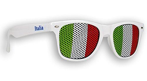 2 x Fanbrille Italien - Italia - Italy – Sonnenbrille – Brille Italia – Weiß - Fan Artikel