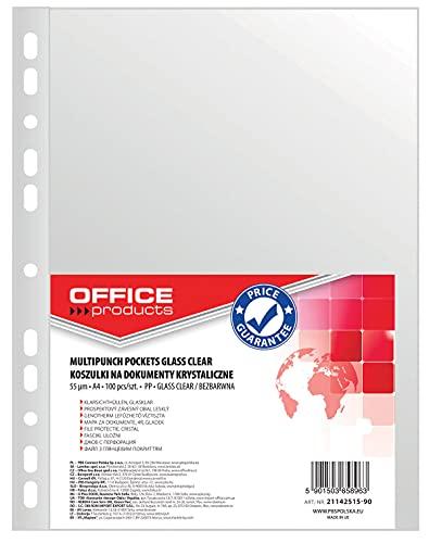 OFFICE PRODUCTS 21142515-90 Klarsichthüllen, PP, A4, glasklar, 55 µm 100 Stück, transparent