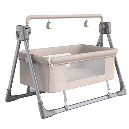 Great Price! Electric Baby Rocker, Height Adjustable Crib with Comfortable Mattress, Portable Baby B...