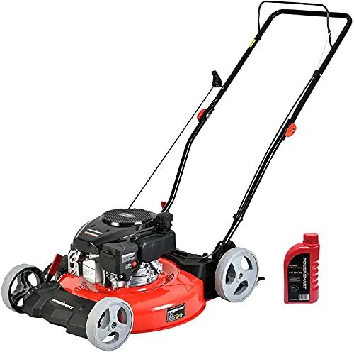 PowerSmart Lawn Mower, 21-inch & 144CC, Gas Powered Push Lawn Mower with 4-Stroke Engine, 2-in-1 Mower Without Bag, 5 Adjustable Heights (1.18''-3.0''), Oil Included