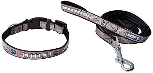 GameWear NFL San Diego Chargers Reflective Football Collar & Leash Gift Pack, Small, Brown