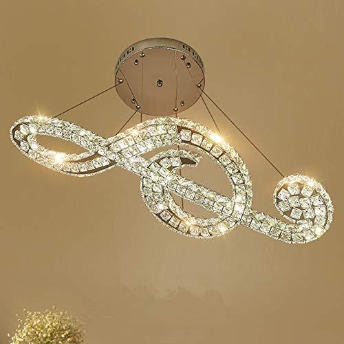 Creative Stainless Steel Crystal Chandelier, Afstandsbediening Dimmen LED Modern Notes, Piano Room Bar Hanglamp, Regelbaar Hangend Wire