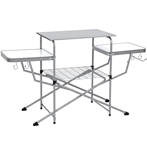 Best Choice Products Portable Outdoor Folding Camping Grilling Table for Food Preparation w/Carrying Case