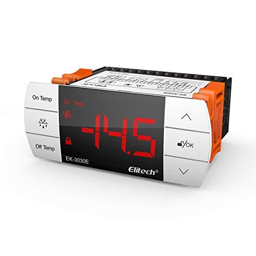 Elitech STC-1000 Controlador de temperatura digital de -40℃-99℃, Termostato Digital Calefacción y Refrigeración ek-3030e, Descongelación forzada, IP65, Botón táctil, ✩Garantía de 12 meses✩