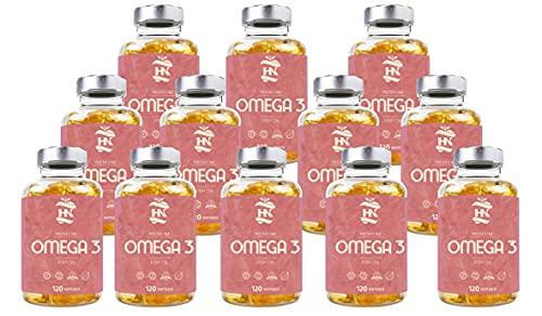 Omega 3 capsulas 1000mg - Fuente Ácidos Grasos de Aceite de Pescado – 400 mg DHA, 800 mg EPA y vitamina E – Para mantener el sistema cardiovascular y arterial saludable – 120 softgel (12 Botes)