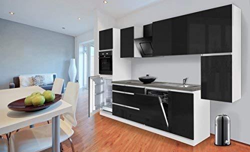 respekta Premium grifflose Küchenzeile Küche 330 cm Weiss schwarz Hochglanz inkl. Induktionskochfeld