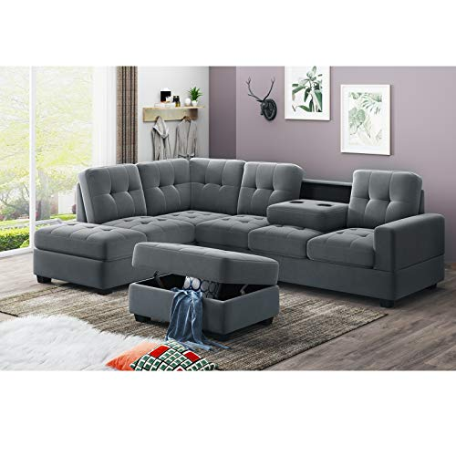 AUKUYEE 3 Piece Microfiber Sectional Sofa and Storage Ottoman L-Shape Couch Living Room Set,...