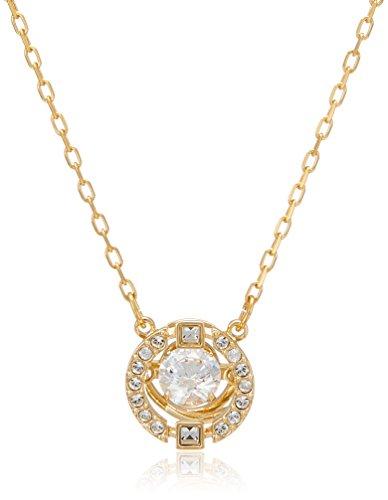 Swarovski Sparkling Dance Round Halskette für Frauen, weißes Kristall, vergoldet