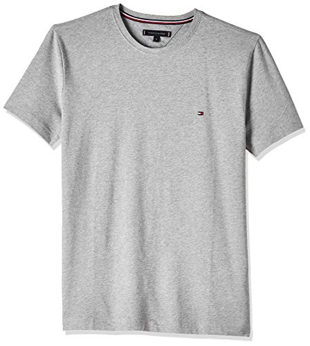 Tommy Hilfiger Core Stretch Slim Cneck Tee Maglietta, Grigio (Cloud Htr 501), Large Uomo