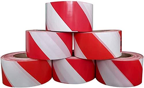 Absperrband Flatterband Warnband Trassenband Absperrungsband Warnklebeband Markierungsklebeband nicht klebend baustellenband 500m x 75mm Rot/Weiß 500 meter