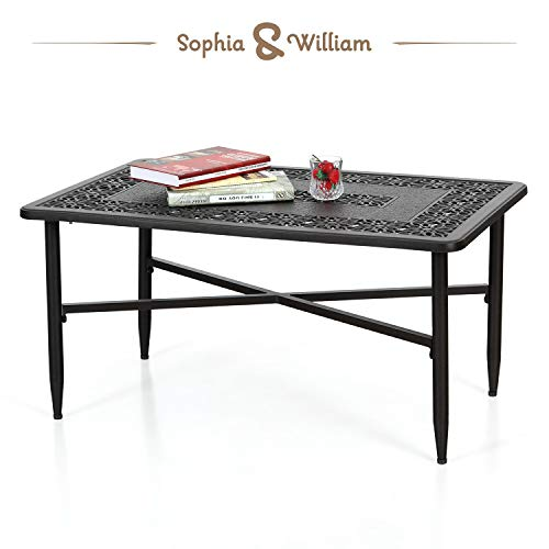 "Sophia & William Patio Coffee Table Rectangle, Modern Outdoor Cast Aluminum Coffee Table 38.6"" L x 23.0"" W x 18.9"" H"