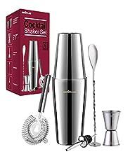Cocktail Shaker, Cocktail Set Gift, Premium Boston Shaker 750ML 550ML Gift Set, Cocktail Hooker Bar Tillbehör Set, Cocktail Shaker rostfritt stål, Shaker för cocktails Mixer Spoon 6 Piece Bartender