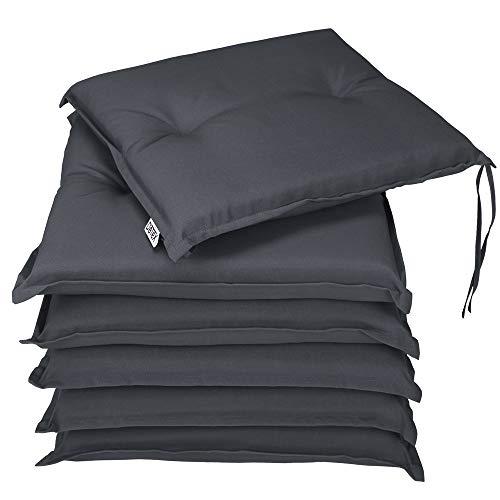 Detex® Stuhlauflagen Boston 6er Set Wasserabweisend Kissen Sitzkissen Stuhlkissen Auflage Sitzauflage Anthrazit