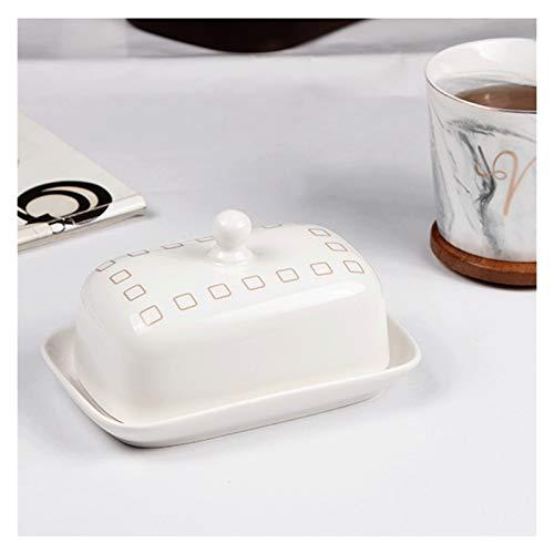 Plato para mantequilla Plato de mantequilla rectangular con tapa de cerámica de mantequilla de cerámica occidental vajilla de gran capacidad Mantequilla de mantequilla Home Hotel Restaurante (blanco)