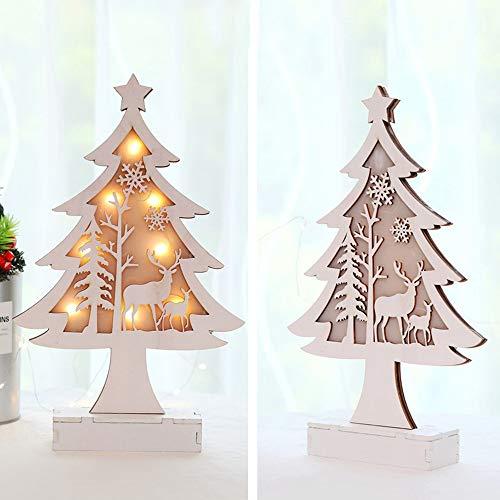 Solike Mignonne LED Lumière Sapin de Noël Ornements de Fenêtre Décoration de Vacances Décoration de Bureau de Noël (Blanc, Taille Unique)