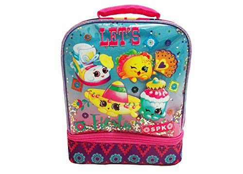 """Shopkins Dual Compartment Lunch Bag - Pink/Turquoise""""Let"""