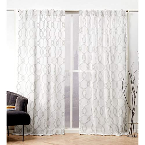 Nicole Miller Soft Trellis Curtain Panel, 54x96, Dove Grey, 2 Panels