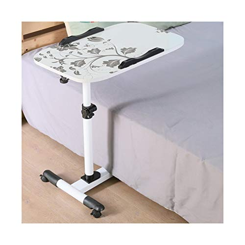 FGYUI Portable Table Sofa Side Notebook Desk, Mobile Dining Snack Table End Table (Color : White Flower c)