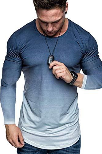Koloyooya Mens Round Neck Gradient Long Sleeve T-Shirt Sports Gym Muscle Slim Top (Gradient Blue, 2XL)