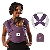 Baby K'tan Original Baby Wrap Carrier, Infant and Child Sling - Simple Pre-Wrapped Holder for Babywearing - No Tying or Rings - Carry Newborn up to 35 lbs, Eggplant, Women 10-14 (Medium), Men 39-42