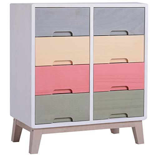 HOMCOM Kommode Sideboard Nachttisch Flurkommode Schubladenschrank mit 8 Schubladen Paulownienholz bunt 55 x 30 x 65,5 cm