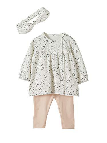 VERTBAUDET Mädchen Baby-Set: Haarband, Kleid & Leggings weiß bedruckt 74